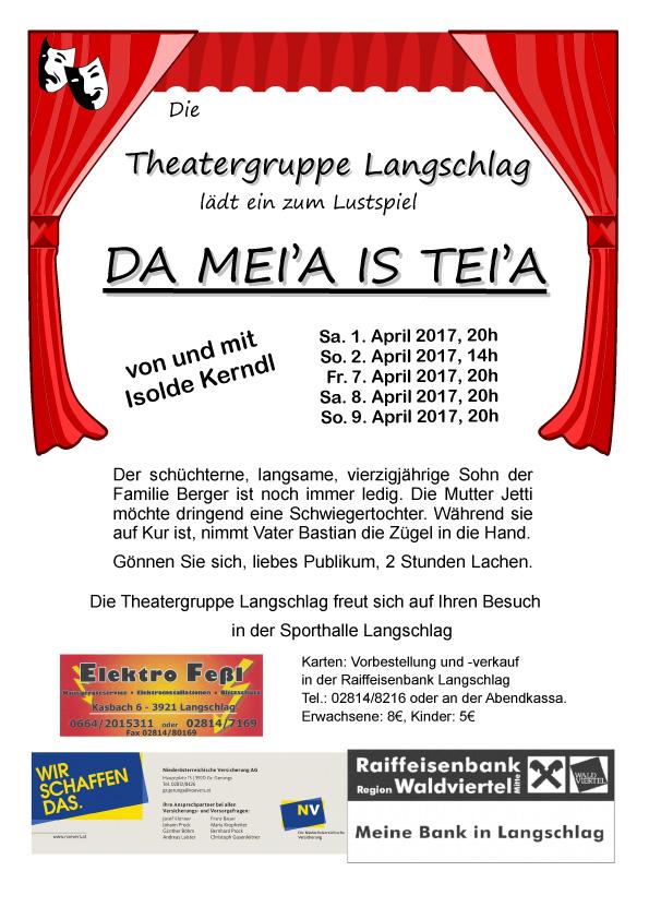 Theateraufführung Da Mei´a is tei´a Langschlag RiS